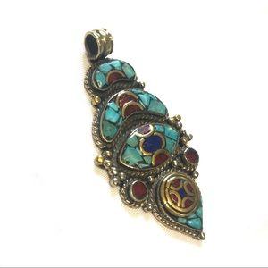 Nepalese traditional boho pendant turquoise stone